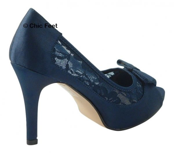 LADIES NAVY BLUE SATIN & LACE WEDDING BRIDAL EVENING HIGH HEEL COURT SHOES
