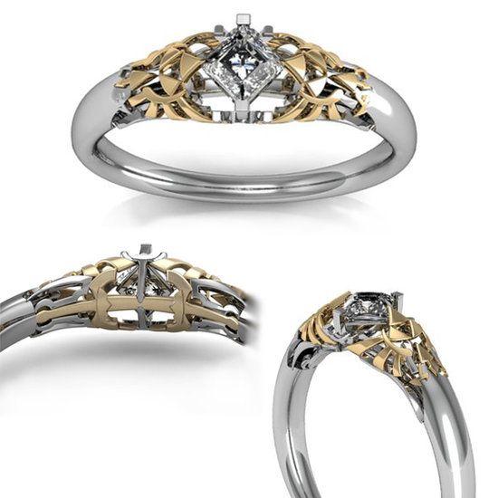 Zelda Wedding Bands Fit For A Princess Of Hyrule Zelda Ring Zelda Engagement Ring Geeky Wedding Rings