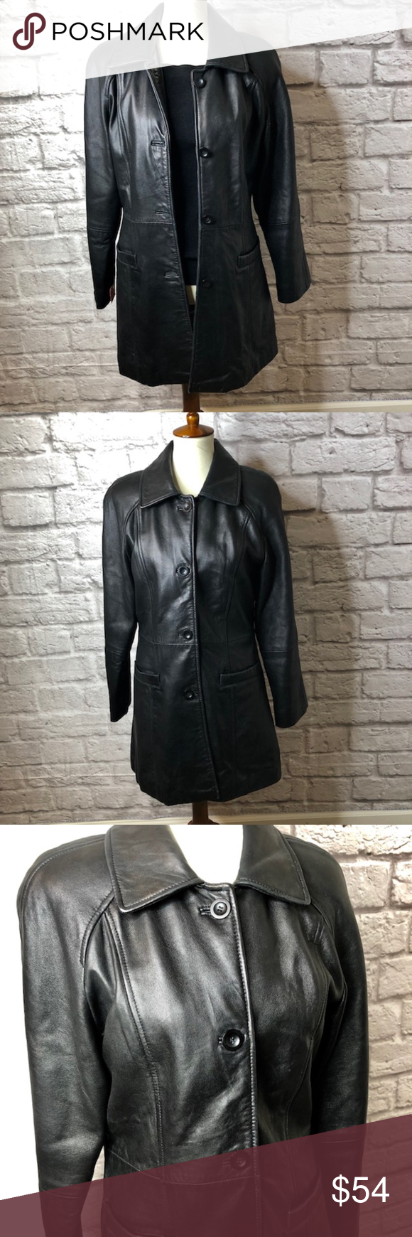 Jones New York Genuine Leather Black Coat Jones New York Genuine Leather Black Coat Size Medium Elegant Stunning Sof Stylish Jackets Black Coat Jones New York [ 1740 x 580 Pixel ]