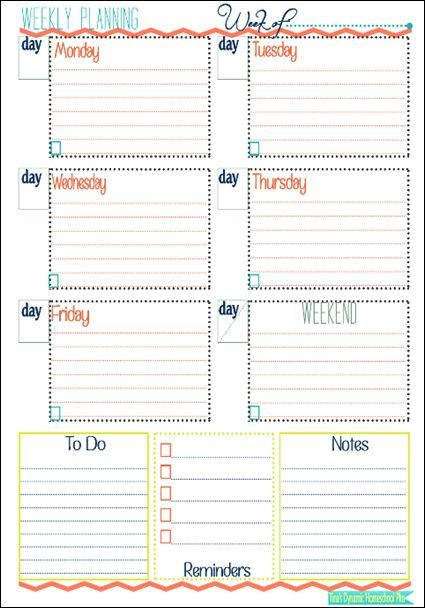 Week At a Glance Form Planners, Homeschool and Organizations - Agenda Planner Template