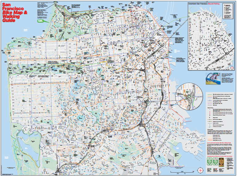 San Francisco Bike Map And Walking Guide San Francisco Bay Area - San francisco bike map