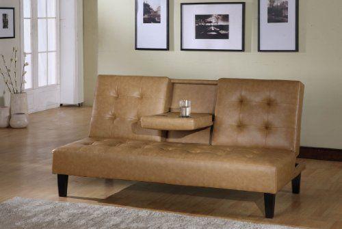 Kings Brand Tan Vinyl Klik Klak Sofa Futon Bed Sleeper With Adjule Back Furniture