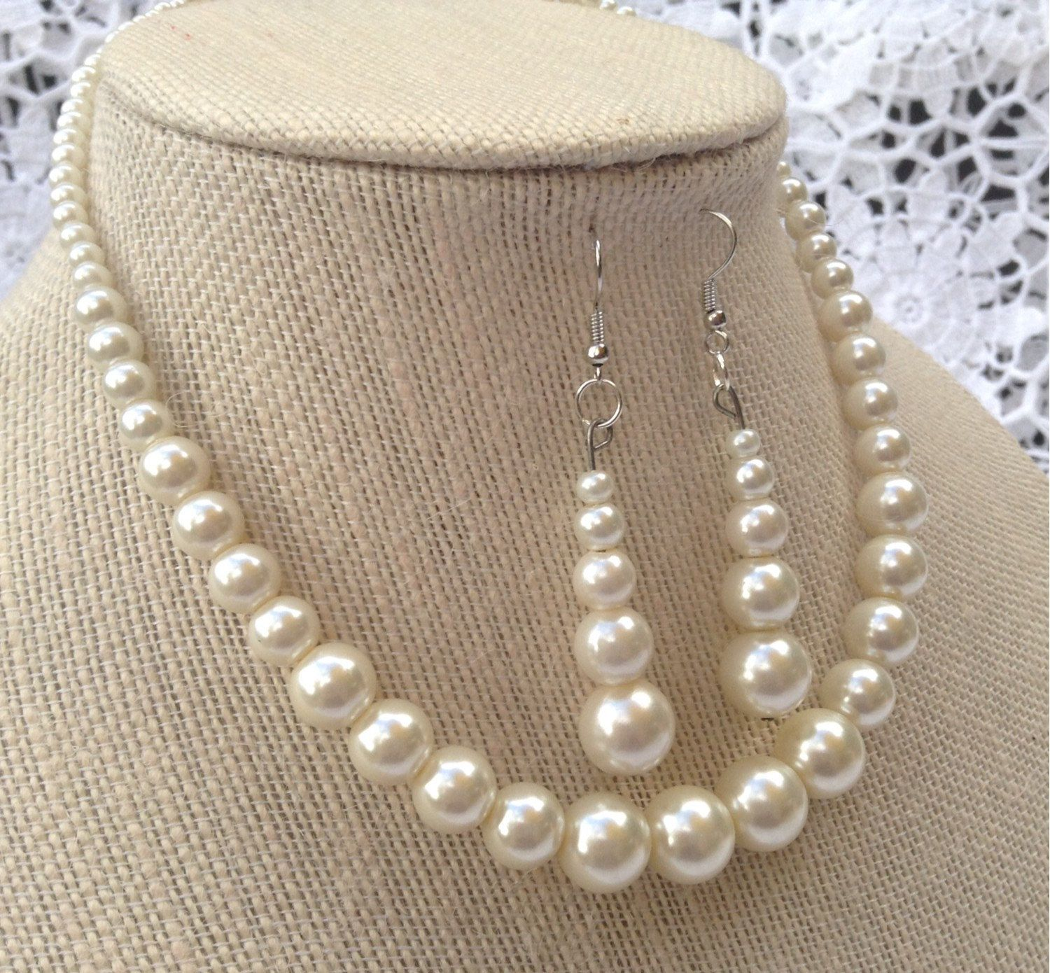 Cherish every moment! Bridal jewelry: ivory toned bead necklace by Jay of Dragonfly, affordably priced at under $20.