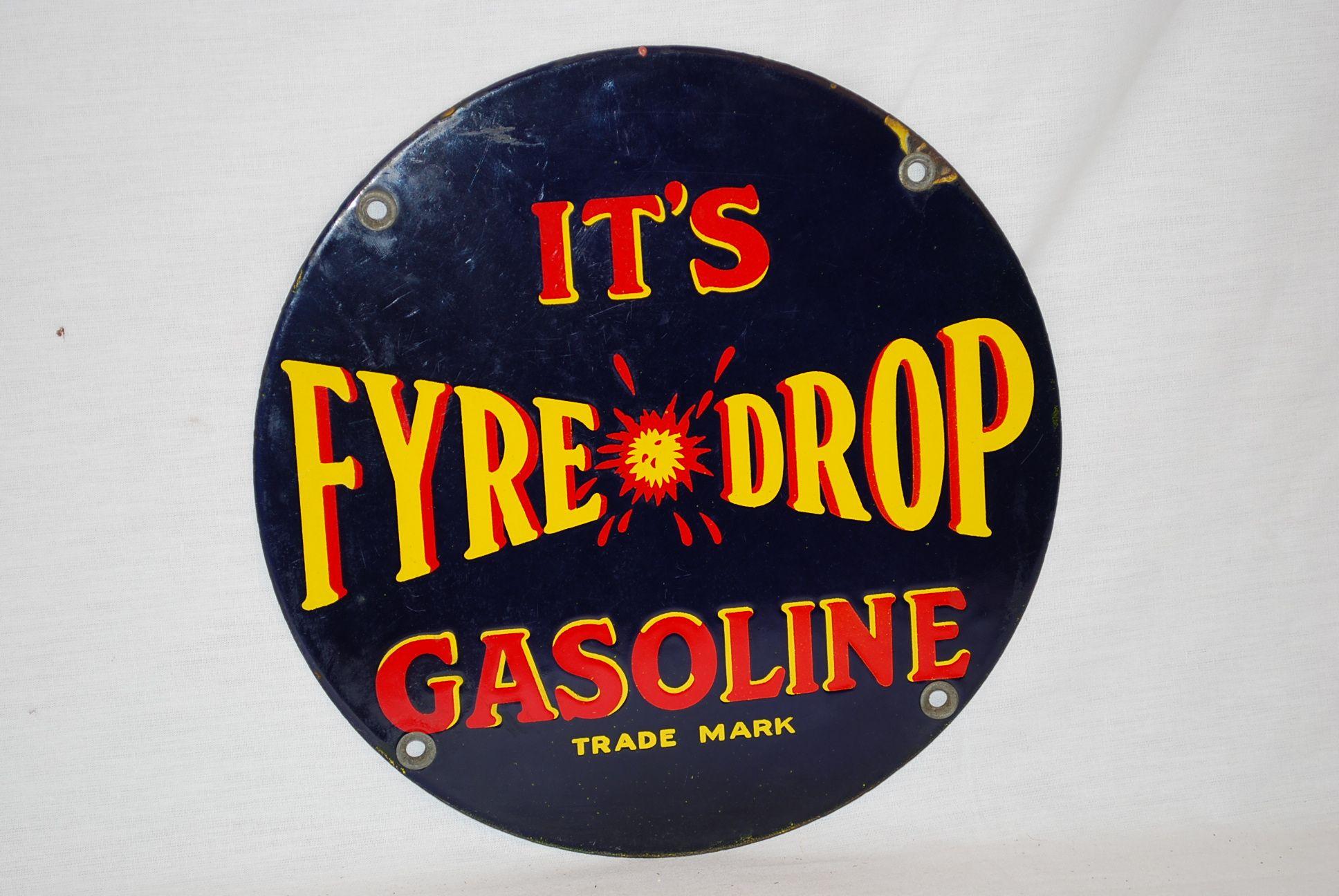 Rare Fyre Drop Gasoline pump plate