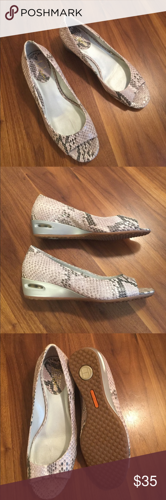 Cole Haan Tali Wedge Neutral snakeskin open toe wedges. Excellent condition. Cole Haan Shoes Wedges