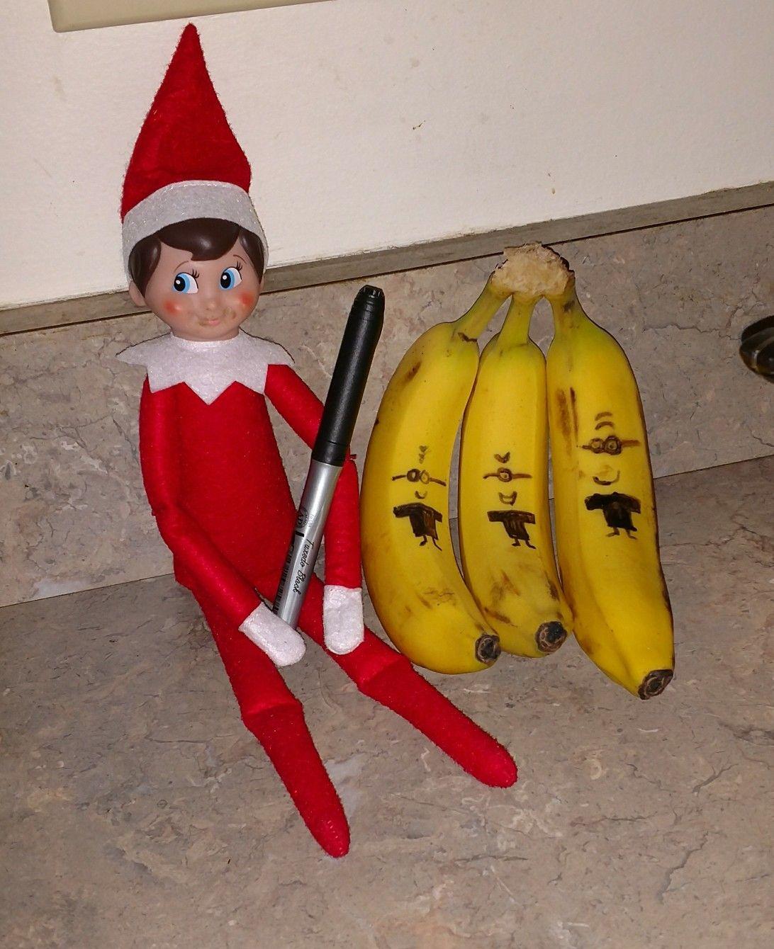 Elf On The Shelf Draws Minions On Bananas Elf On The Shelf