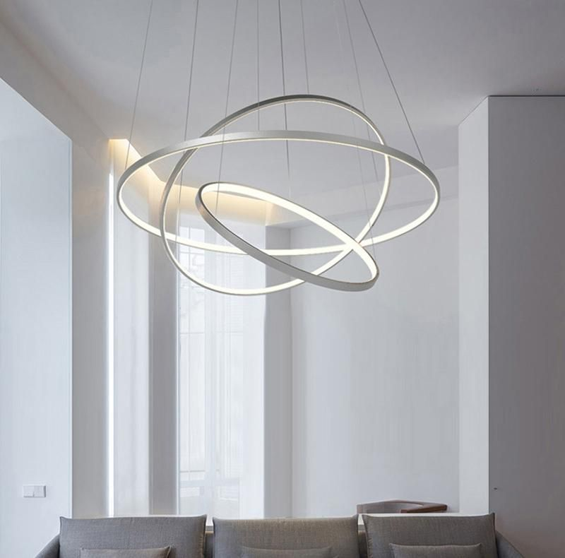 Modern Circular Ring Pendant Lights 3 2 1 Circle Rings Acrylic Aluminum Body Le Indoor Lighting Fixtures Living Room Light Fixtures Modern Living Room Lighting