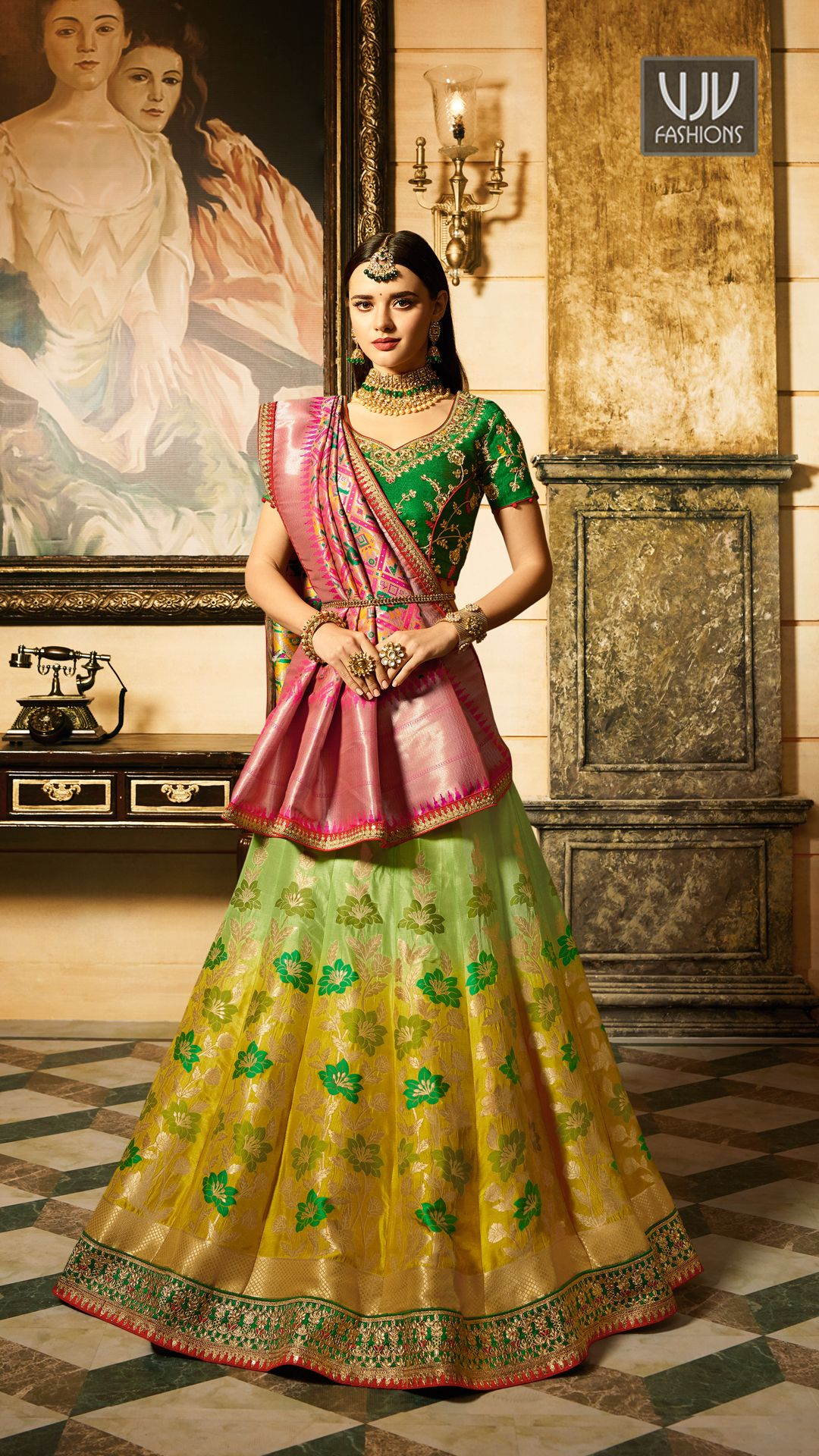 5234cc5a14 Delight Green And Yellow Shaded Designer Lehenga Choli PRICE=13,000.00