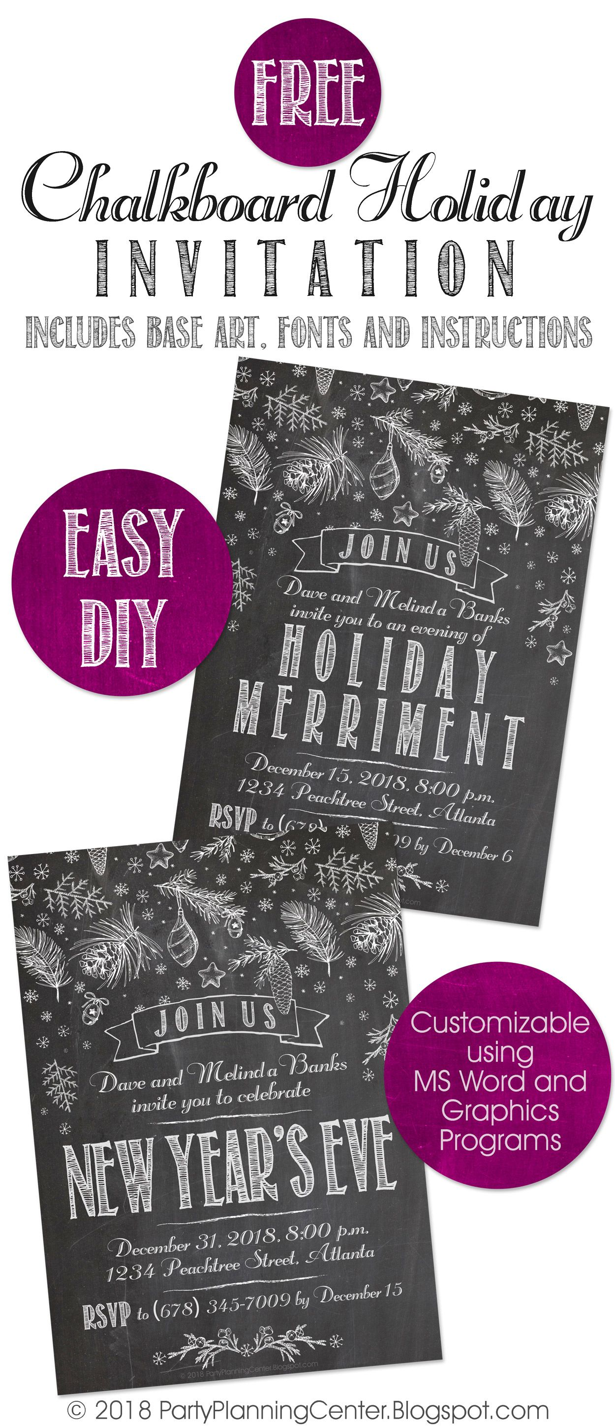 FREE DIY printable holiday, Christmas or New Year's Eve