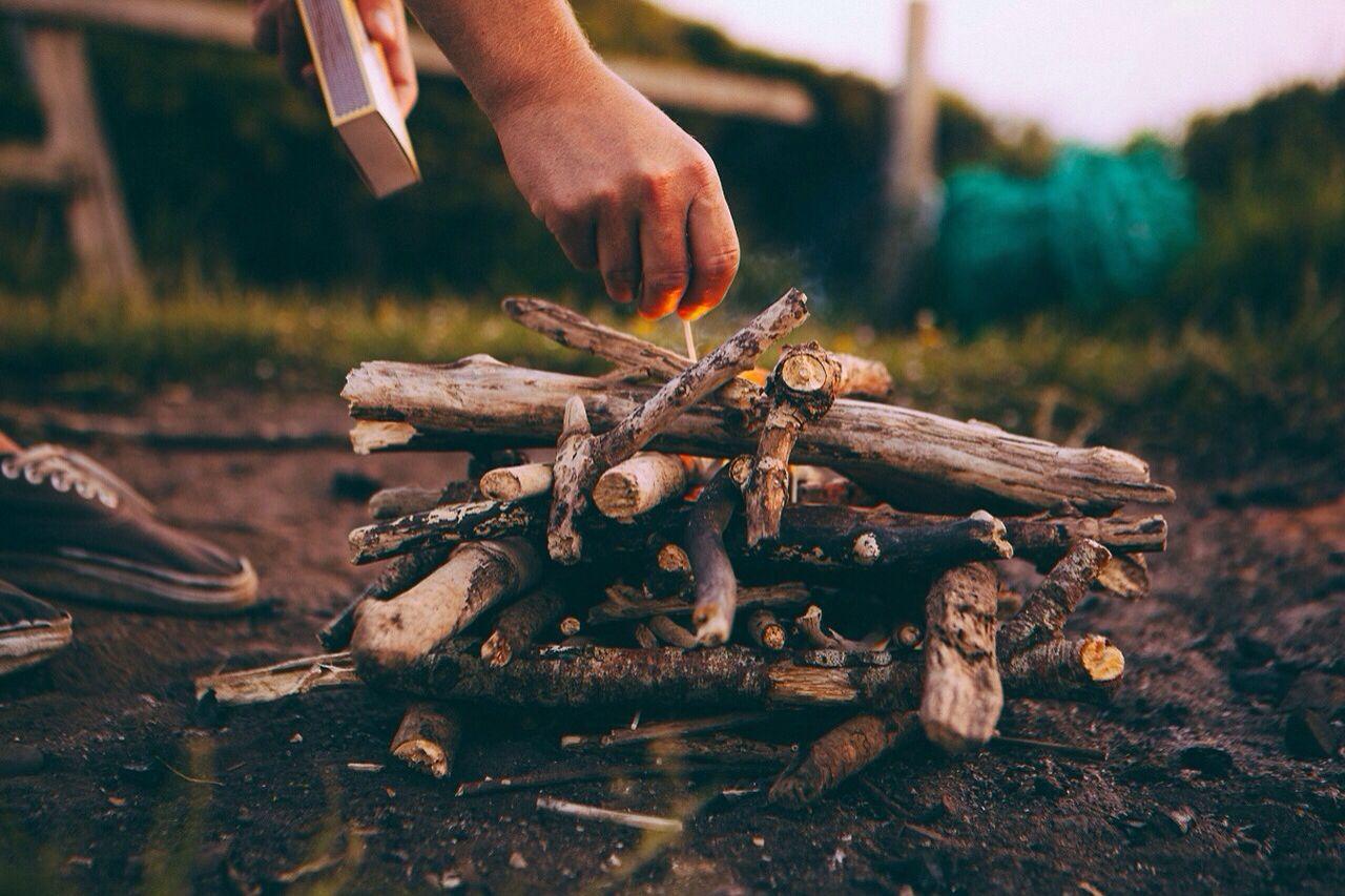 Making a campfire.