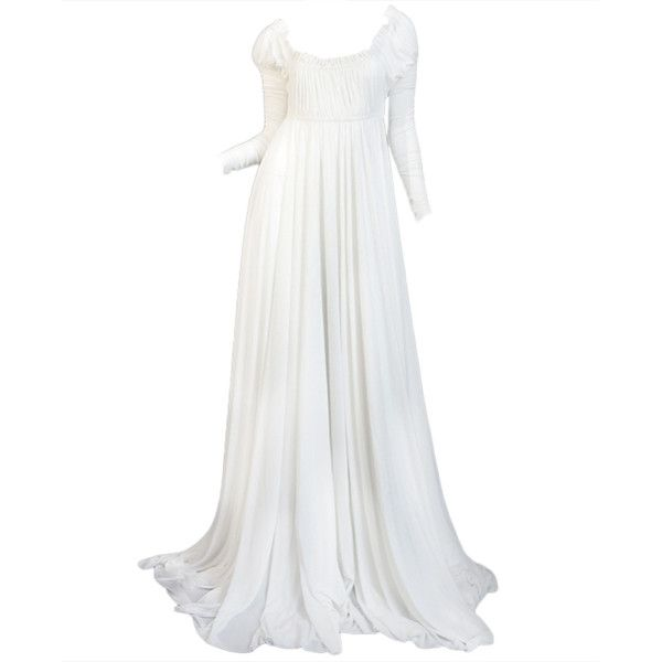 1970s Norma Kamali White Jersey Gown ❤ liked on Polyvore featuring dresses, gowns, long dresses, wedding, long white dress, jersey dress, white ball gowns and long white evening dress
