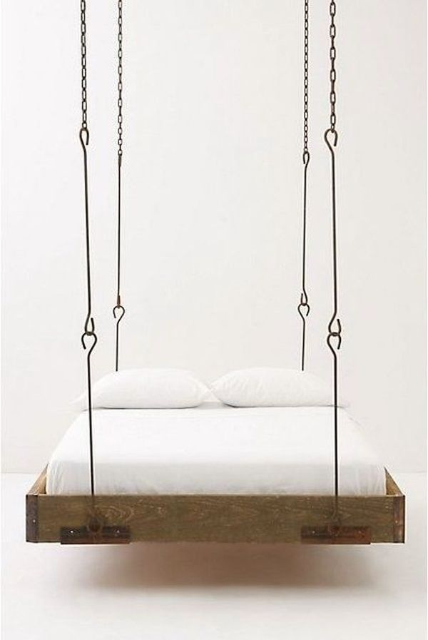 a minimalist industrial look for a barnwood hanging bed i really love the look