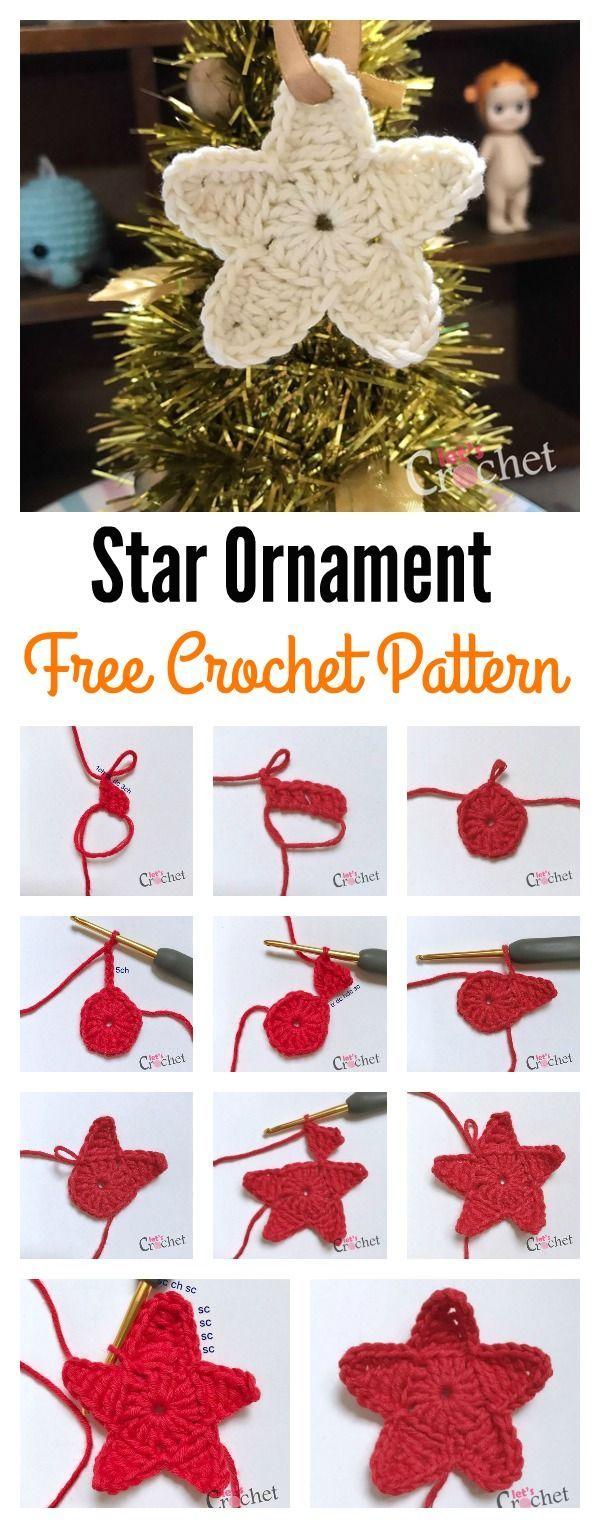 Christmas Tree Star Ornament Free Crochet Pattern | Crochet ...