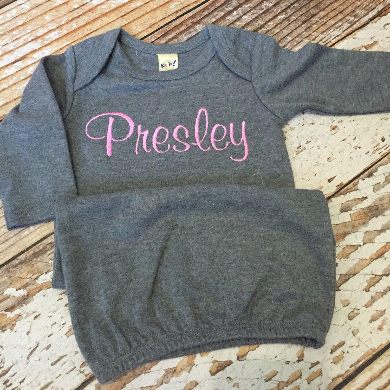 Monogrammed baby gown sleeper layette personalized boy girl newborn ...