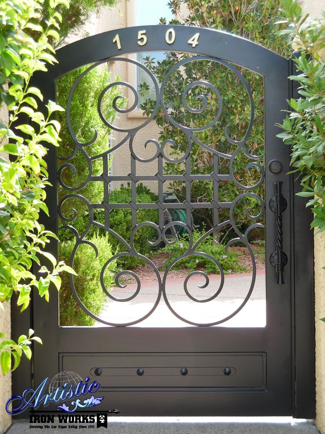 Wrought Iron Courtyard Entry Gate With Scrolls And Kickplate