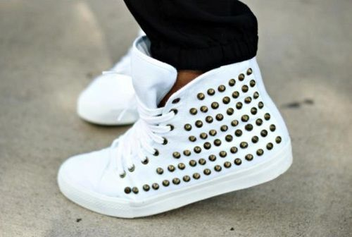 white highh tops with studs.