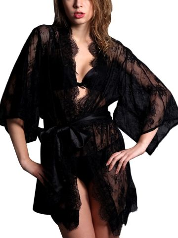Walkingon Womens Long Sleeve  Night  Robes Transparent Mesh Sexy Sleepwear 3e71ff23c