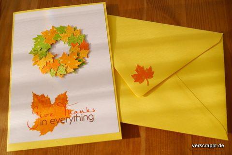 Herbst-Erntedank-Danke-Thanks-Herbstblätter-Herbstlaub-Laub-Blätter-Herbstkranz-Kranz-Karte-Dankeskarte-gelb-orange-grün-Herbstfarben-mit-Briefumschlag