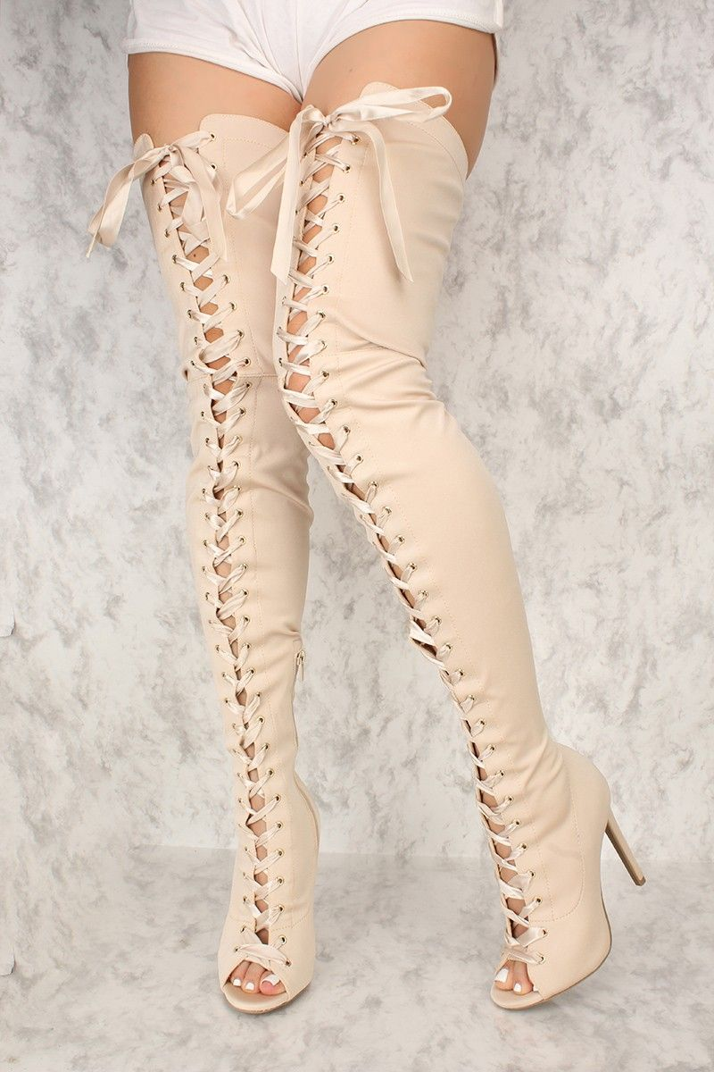 313fac19f76 Sexy Champagne Front Lace Thigh High Boots Lycra | Shoes | High heel ...