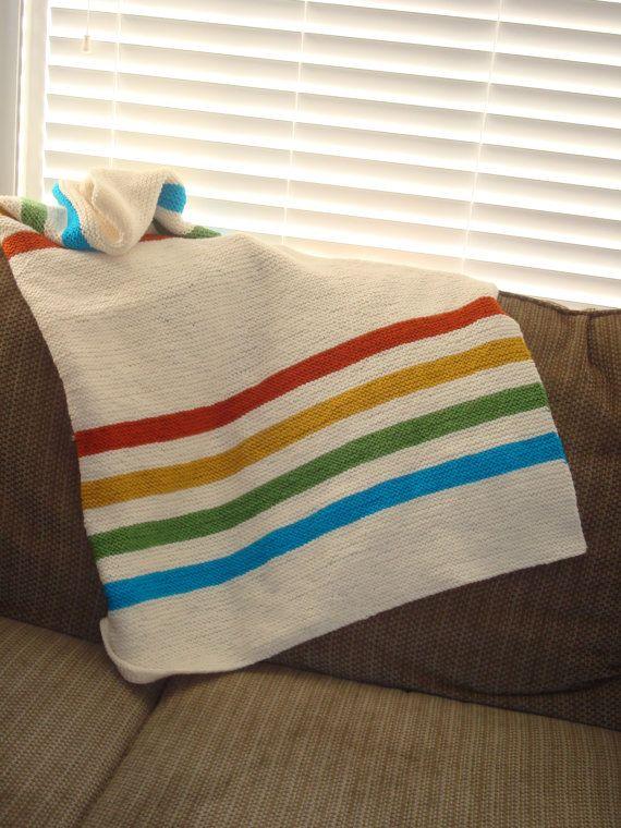 Hudson Bay Inspired Crib Blanket Knitting Knitted