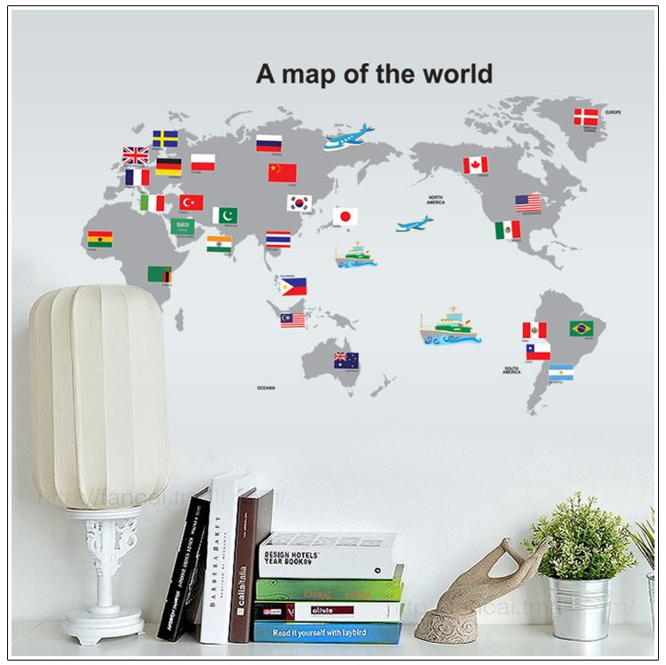 Pvc removable wallpaper world map wall sticker posters home pvc removable wallpaper world map wall sticker posters home decoration country travel tours map paper wall gumiabroncs Choice Image