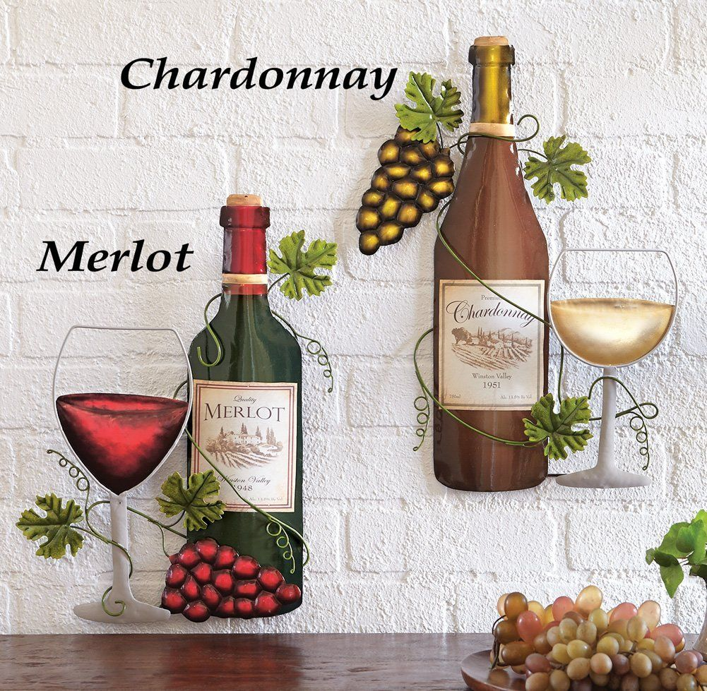 Amazon wine bottle metal wall art chardonnay neat stuff