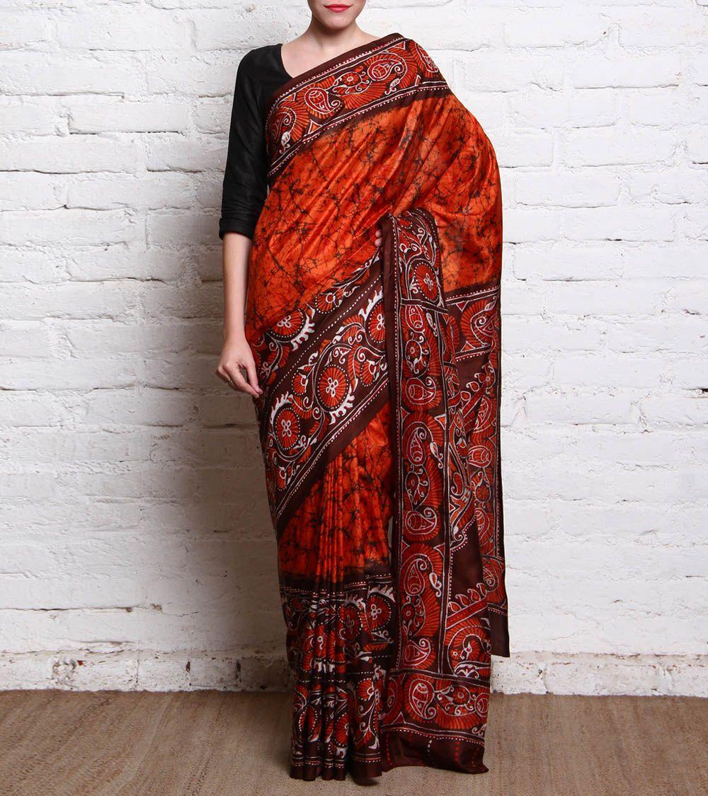 Brown & Orange Batik Silk Saree