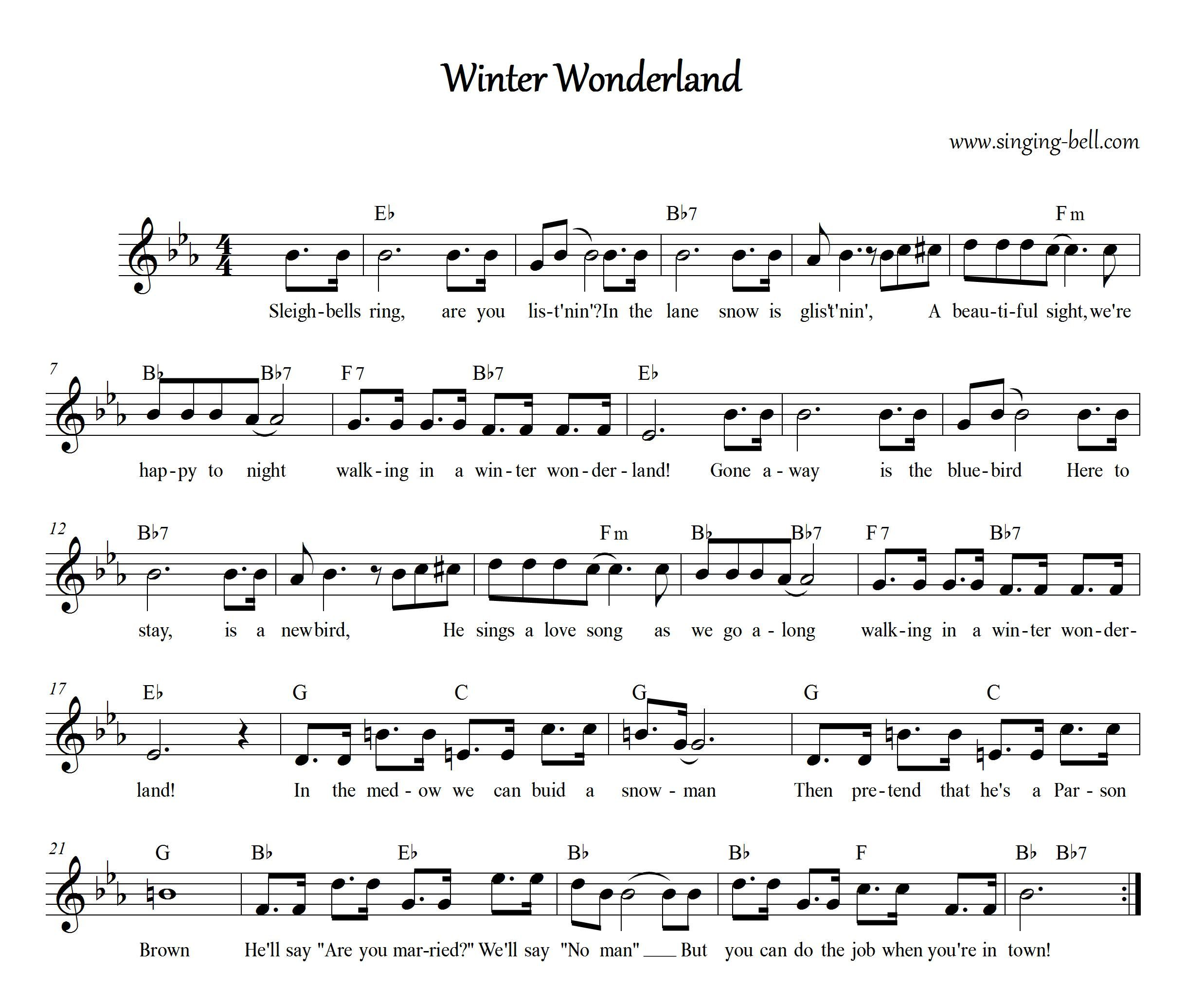 Winter Wonderland Winter wonderland, Christmas sheet