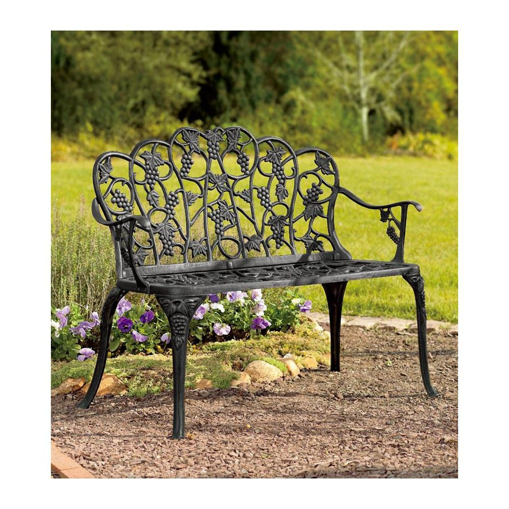 Remarkable Aluminum Vintage Style Outdoor Garden Bench With Grape Vine Squirreltailoven Fun Painted Chair Ideas Images Squirreltailovenorg