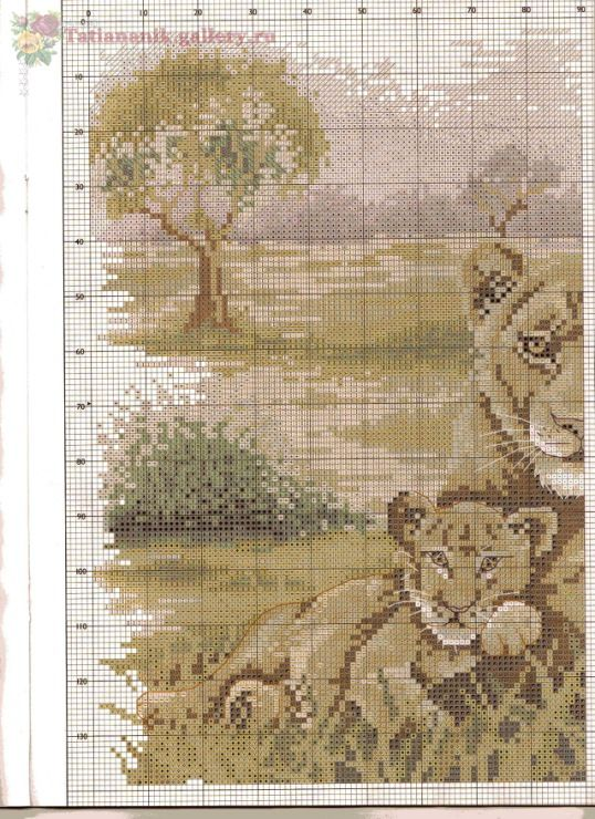 Chart Needlework Crafts DIY Pride of Africa Counted Cross Stitch Kits