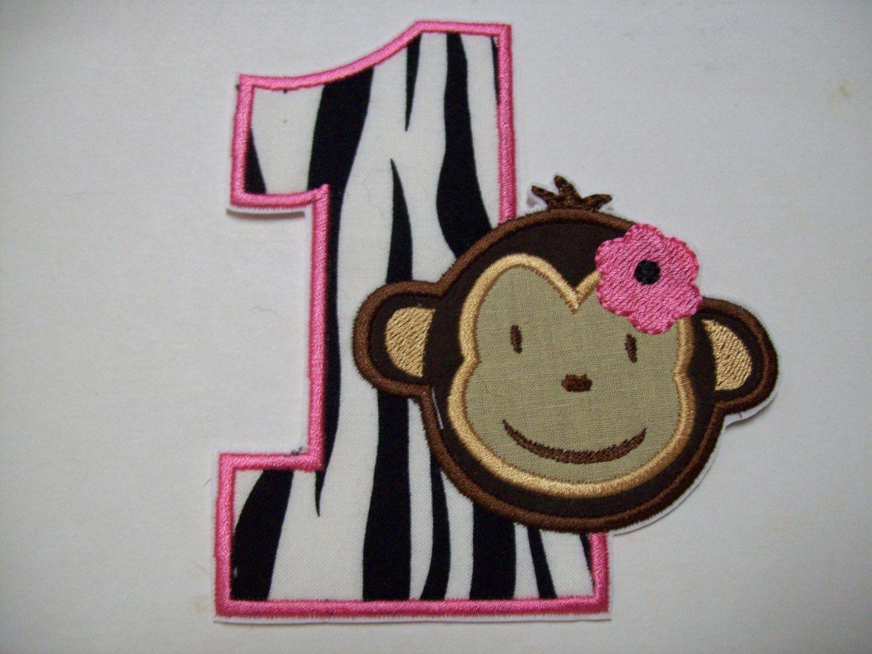 Iron On Applique Birthday Girl Monkey BGM888. 6.99, via