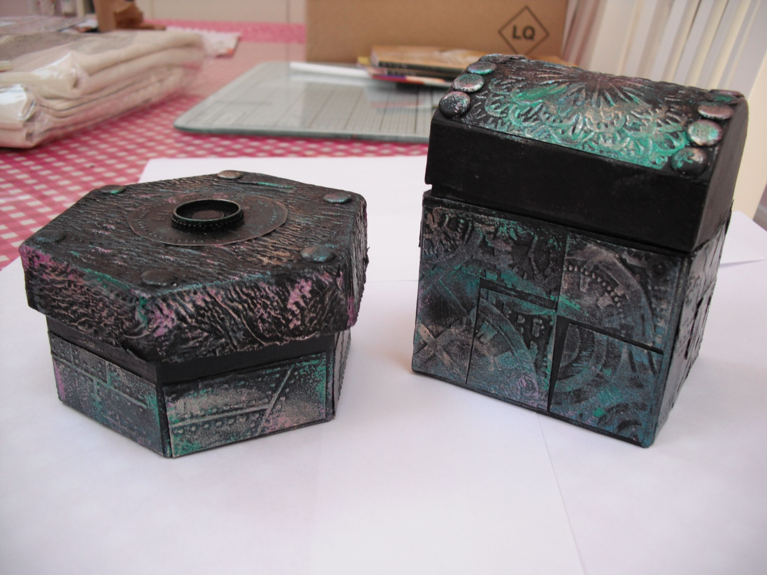 Two boxes decorated with Gesso, Pinflair Liquid Buff-it and then Gilding Wax