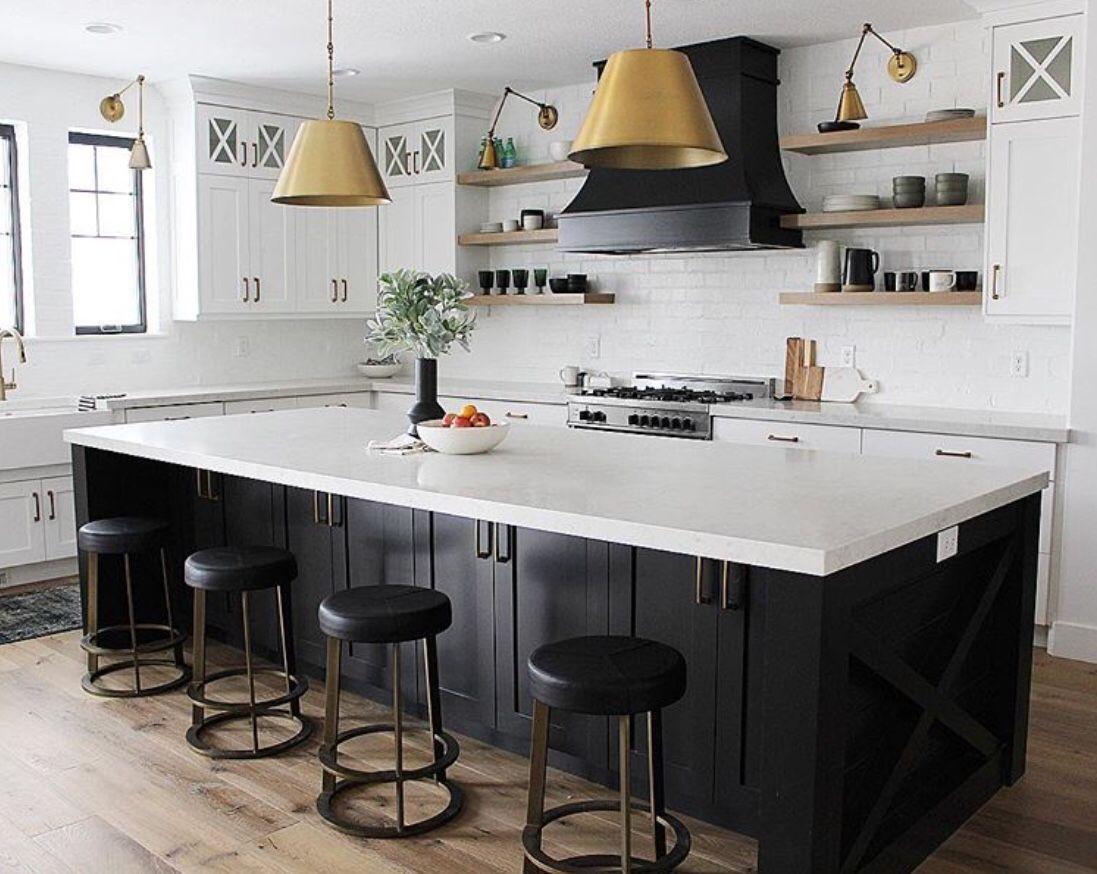 16 black and white kitchen decor ideas in 2020 black kitchen island kitchen island table on kitchen island ideas black id=19599