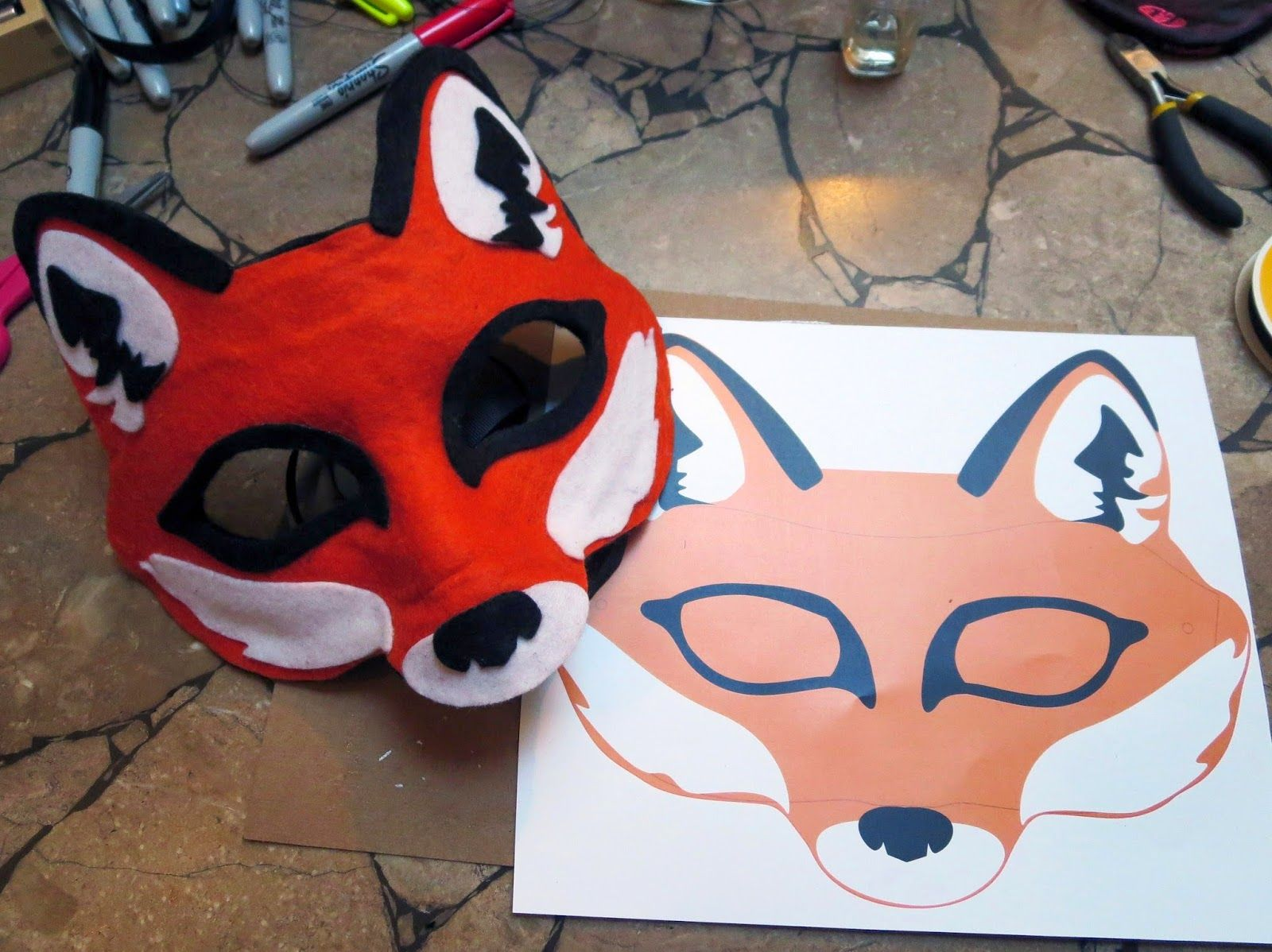 Half Masks To Decorate Glamorous Diy Felt Fox Mask  A Ton Of Templates For Different Animals Good Inspiration