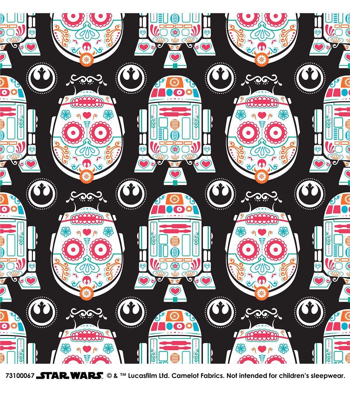 Star wars character sugar skulls cotton fabric warm in for Star wars fabric