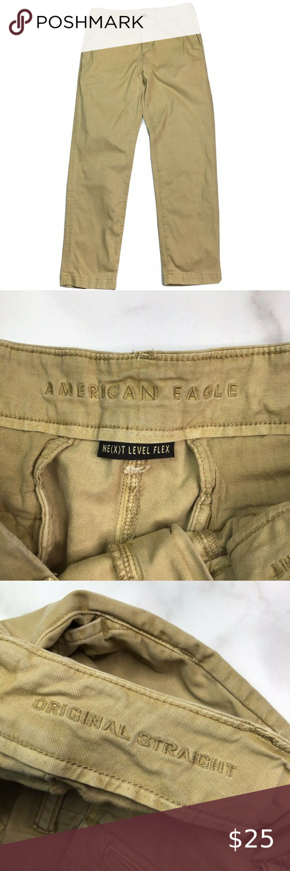Men's Size 30x30 American Eagle Outfitters Straight Flex Khaki Pants