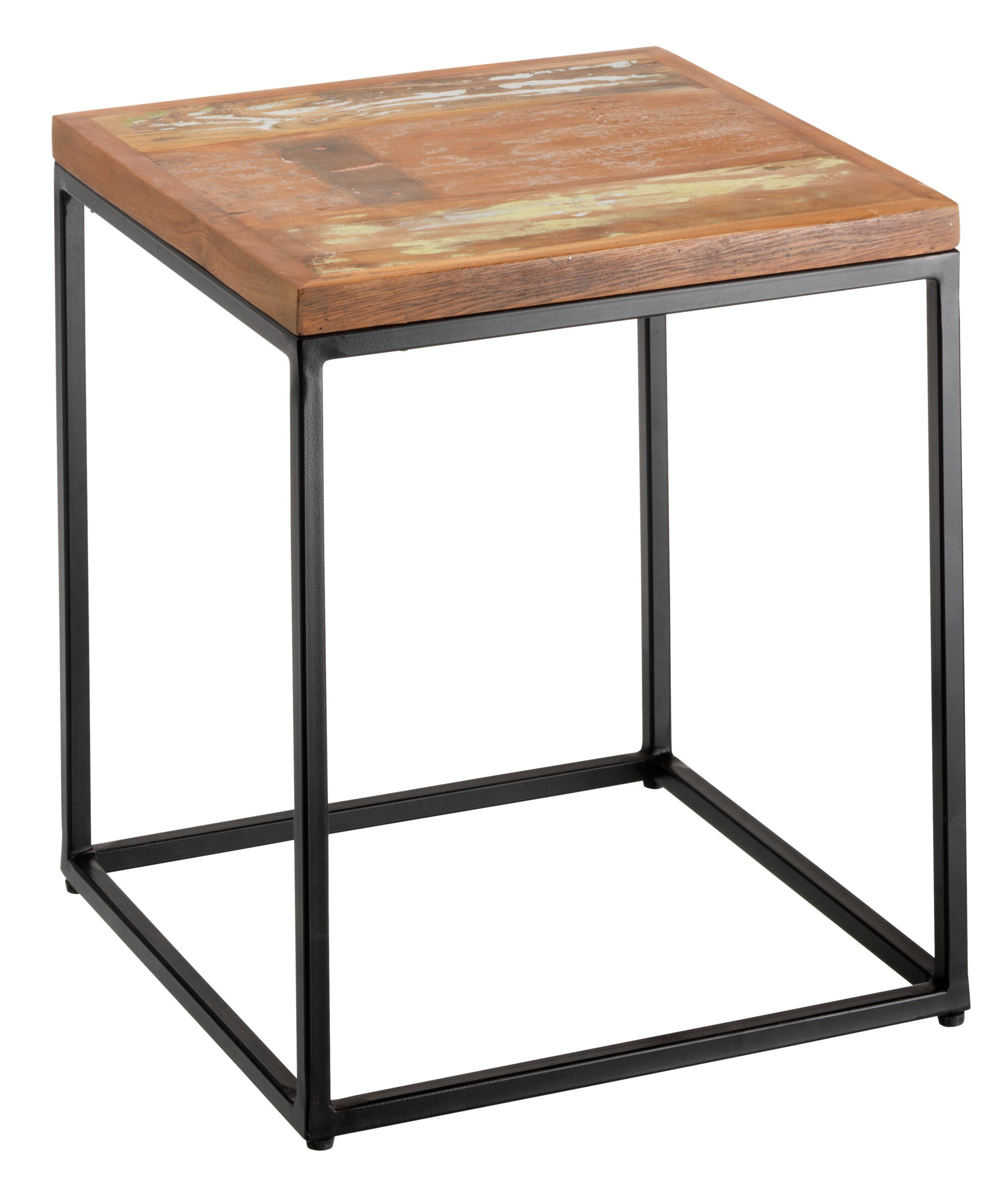 beistelltisch ronan platte recyceltes mangoholz massiv farbig lackiert gestell metall. Black Bedroom Furniture Sets. Home Design Ideas