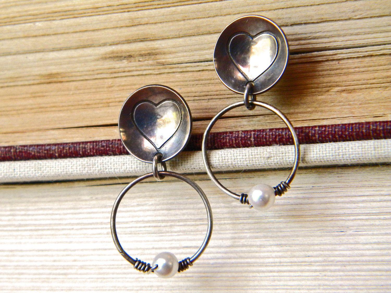 bd1e4748d Silver hoop earring, dangling hoop, sterling silver earring, pearl earring,  heart earring, silver stud earring, women's earring, post by ...