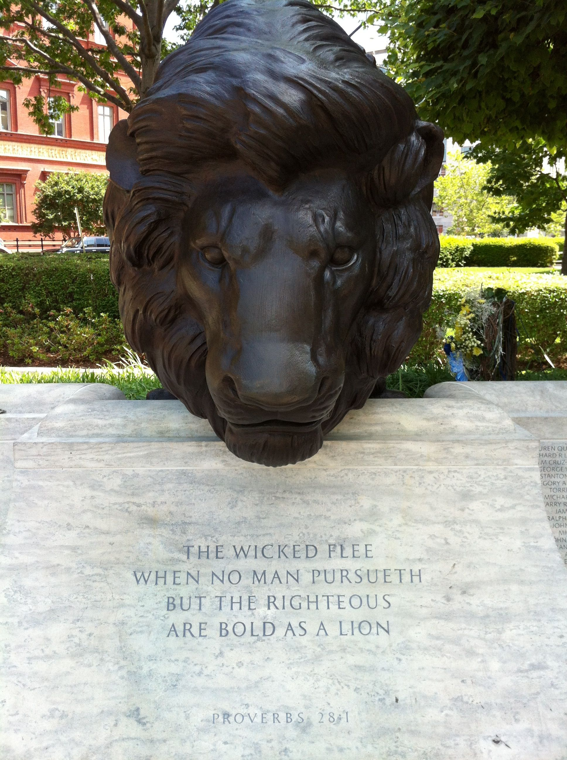 Proverbs 28 1 National Law Enforcement Memorial In Washington