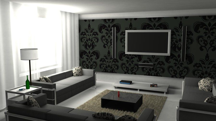 Super Stylish Living Rooms Black Wallpaper Living Room Black Living Room Black And White Living Room