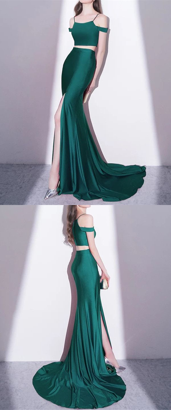 Mermaid Style Long Green Jersey Two Piece Prom Dresses 2018 Green Prom Dress Prom Dresses Two Piece Prom Dresses 2018 [ 1440 x 600 Pixel ]