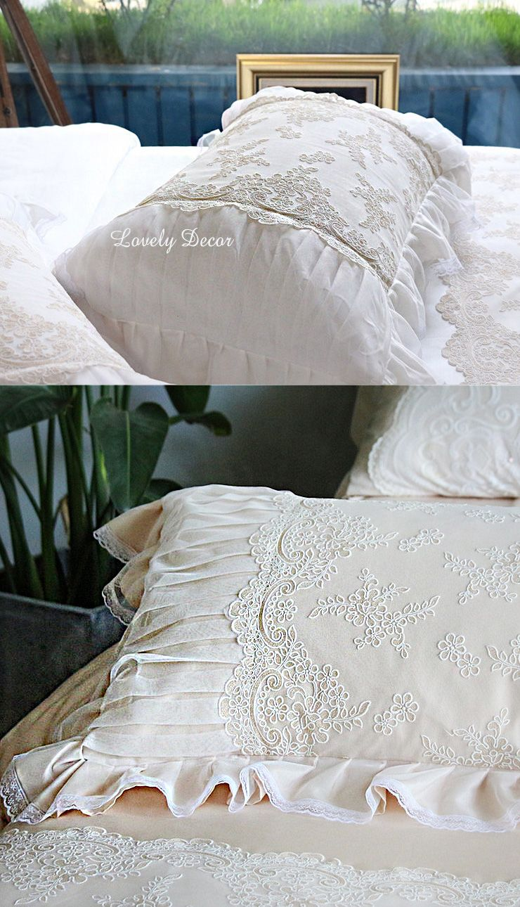 French Lace Ruched White Duvet Cover Shabby Chic Bedding White