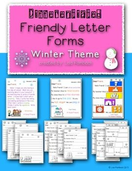 Differentiated Friendly Letter Forms Winter Theme Friendly Letter