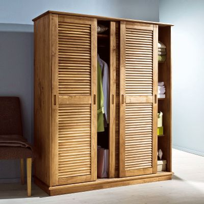 armoire 3 portes persiennes coulissantes en pin massif certifi e fsc armoires pinterest. Black Bedroom Furniture Sets. Home Design Ideas