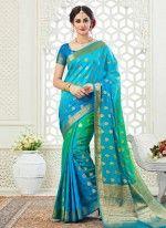 Blue color Designer Saree -Silk Embroidered Saree