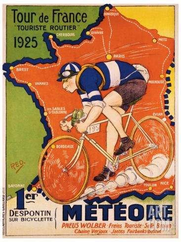 """24x32 1928 French Bicycle Poster Tour de France /""""La Ronde de France/"""""""