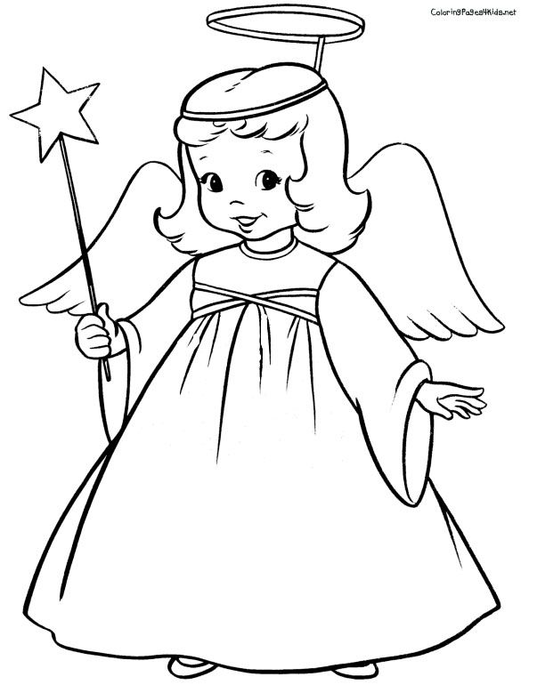 Free Angel Coloring Pages letscoloringpagescom Cute Angel