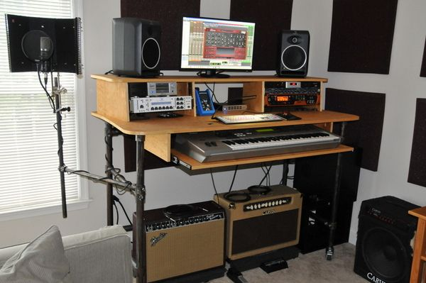 Rolling Recording Desk With Microphone Stand Desk Week Home Studio Music Recording Studio Home Home Studio Desk