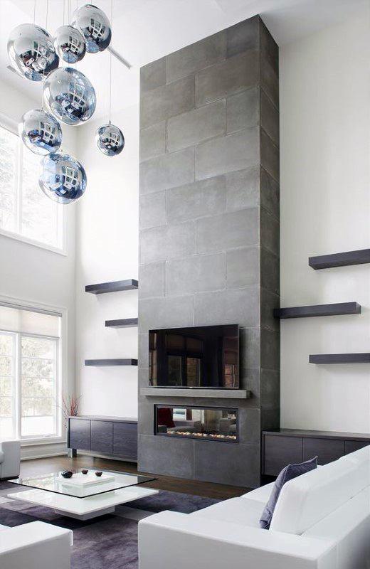 Top 60 Best Concrete Fireplace Designs - Minimalis