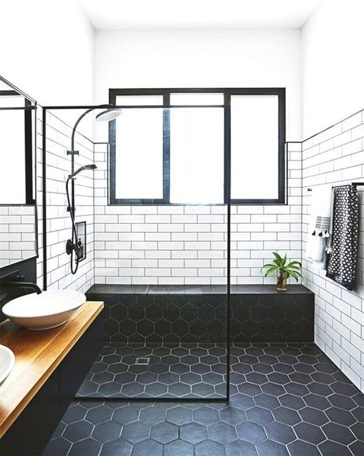 "Hunker on Instagram: ""A black and white bathroom done right. (📷:@smartanson)"""